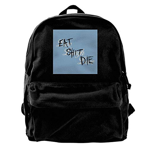 Rucksack GTA V Live Laugh Love Eat Shit Die Canvas Backpack Anime Durable Adult Gift School Shoulder Bag Birthday College Bag Book Student Travel Unique Daypack Print PortableT