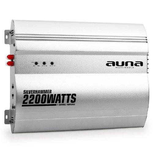 auna Silverhammer Amplificador para Coche de 2 Canales (2.200 W Potencia máxima, Super Bass, puenteable, reguladores de Sonido en Panel Frontal, Compacto, Aluminio) - Plateado