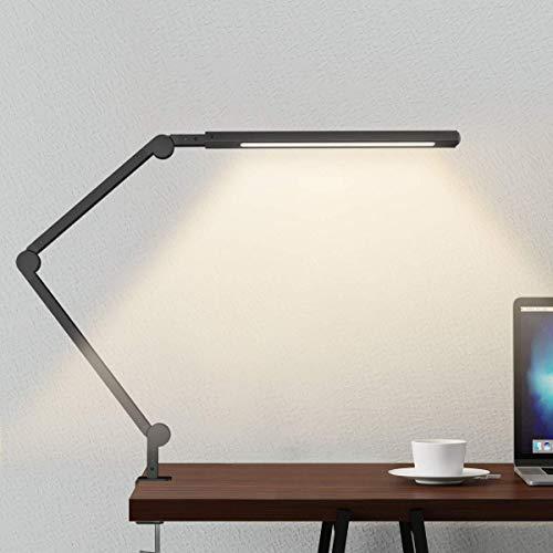 Lámpara Escritorio LED, Wellwerks 9W Lámpara de Mesa Abrazadera Brazo Oscilante Luz Regulable con 6 Modos de Color + Temporizador + Memoria para Lectura Trabajo Oficina (Negro)
