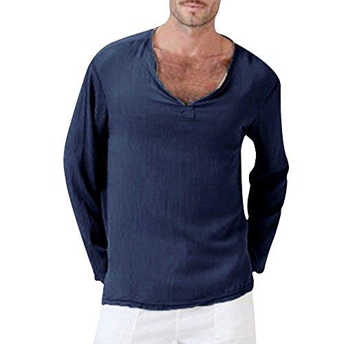 T-shirt à manches longues et col en V pour homme - Style décontracté - Pour la plage, le yoga, le sport, le fitness, la course à pied - Bleu - 4XL