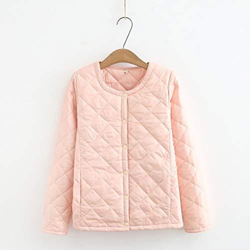 DIAOD 4XL Plus Size Leichter Baumwollmantel Damen Winter Warm Liner Kragenloser Mantel mit Knöpfen Weibliche Slim Jacken (Color : Pink, Size : Medium)