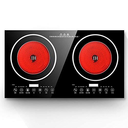 HaroldDol - Cocina de inducción (2200 W + 2200 W, 220 V, 8 velocidades), color negro