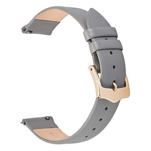 EACHE Bracelets de Montre en Cuir Gris à dégagement Rapide pour Femmes Bracelets de Montre en Cuir Mince de 14 mm pour Dames avec Boucle en Or Rose