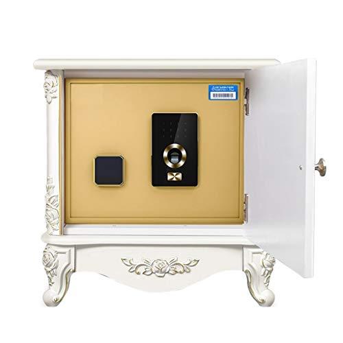 TYLZDZ Safes Safs - Armario de madera para el hogar pequeño y oculto con huellas dactilares, antirrobo, caja de acero (color: blanco, tamaño: 54 x 41 x 55 cm)