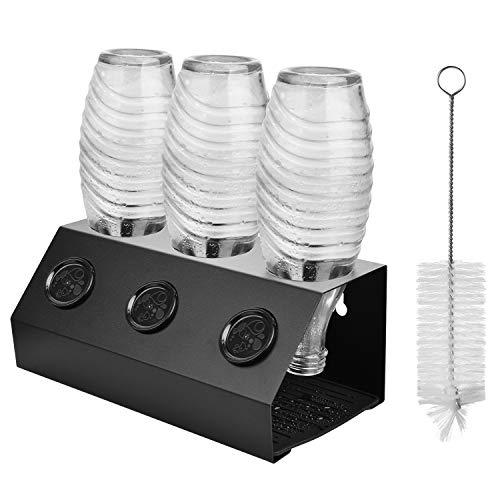 ShinePick Flaschenhalter für SodaStream Flaschen, Aluminiumlegierung mit Flaschenbürste Deckelhalter Flaschenständer und Abtropfmatte, 3er Abtropfhalter für Soda Stream Crystal, Emil Flaschen, Easy