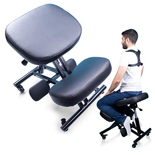 MediChair Kneeling Chair – Cross Legged Posture Chair – Comfortable and Ergonomic Office Chair – Side, Back and Front Wheel Movement – Reduce Pain and Improve Posture – Posture Corrector Included