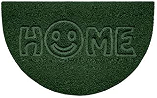 Nicoman Embossed Halfmoon Half Circle Door Mat Dirt-Trapper Jet-Washable Doormat 70x44cm (Green, Home Smiley FACE Shape) -...