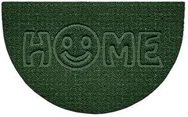 Nicoman Embossed Halfmoon Half Circle Door Mat Dirt-Trapper Jet-Washable Doormat 70x44cm (Green, Home Smiley FACE Shape) - Us