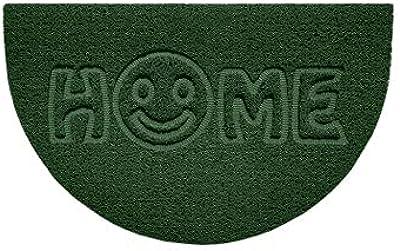 Nicoman Embossed Halfmoon Half Circle Door Mat Dirt-Trapper Jet-Washable Doormat 70x44cm (Green, Home Smiley FACE Shape) - Use Indoor or Sheltered Outdoor