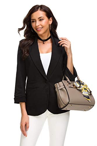 Aladuo Black Blazer, 3/4 Stretchy Ruched Sleeve Open Front Lightweight Work Office Blazer Jacket for Women - Large