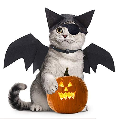 Idepet Dog Cat Halloween Kostüm Fledermausflügel und Fledermaus Hut, schwarz Cool Black Bat Transfiguration Weihnachtsferien Kostüm Dekoration Zubehör Kleidung für kleine mittelgroße Hunde Katzen