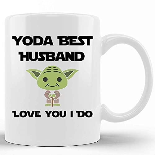 Tazas de café de cerámica de la novedad Yoda Best Husband Love You I Do Regalo del día de San Valentín para el esposo Taza de té divertida Palabras divertidas Taza de regalo para Navidad Festival de A