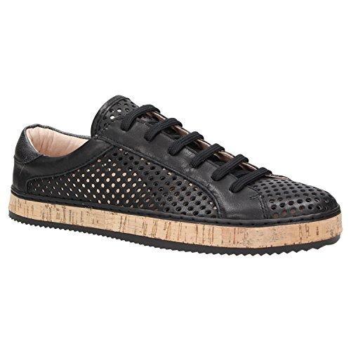 Zweigut® komood #333 Damen Sommer Sneaker Leder Schuh Freizeit metallic Lochmuster atmungsaktiv, Schuhgröße:40, Farbe:schwarz