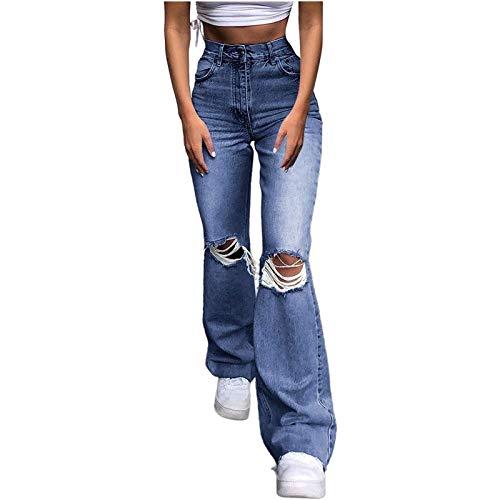 MFFACAI Damen Schlaghose Y2K Mode High Waist Bootcut Pant Weite Bein Boyfriend Stretch Skinny Jeans Hosen Vintage Leopard Jeanshose Schlagjeans Streetwear (Color : Blue, Size : S)
