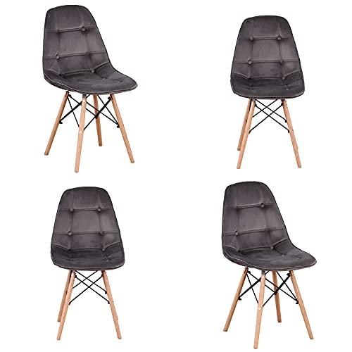 Conjunto de 4 piezas, simple silla de computadora simple silla de oficina silla de negociación silla de mesa de comedor silla de reunión de moda respaldo PU silla de cuero suave (Gris-A, 4)