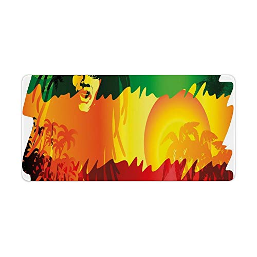 Extended Gaming Mouse Pad with Stitched Edges Waterproof Large Keyboard Mat Non-Slip Rubber Base Iconic Reggae Music Singer Abstract with Sun Palm Trees Desk Pad for Gamer Office Home 12x24 Inch