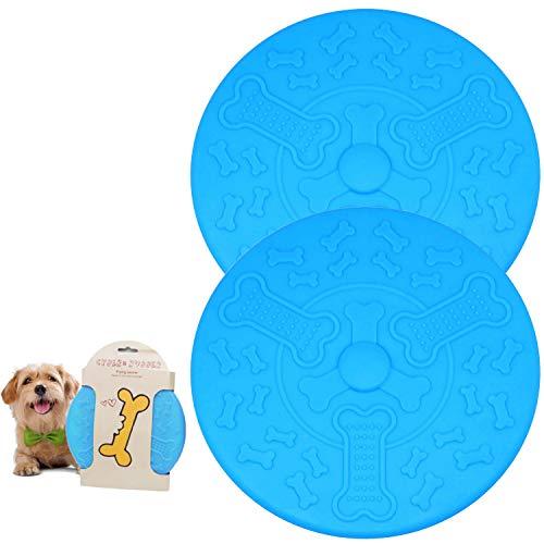 Sunshine smile frisbees para Perros,Disco de Perro,Perro Frisbee Juguetes,Frisbee de Goma,Frisbee de Entrenamiento para Perros,Platillo Volador para Mascotas,Flying Disc Dog Toy (Azul)