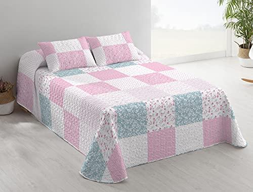 DOMAINET - Colcha Bouti Dreams Etiquette - Color: Rosa (Cama 105cm + cojín 40x60cm)