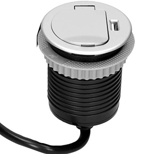 ORNO AE-1373(GS) Versenkbare Einbau Steckdosenleiste 1 Fach + 1x USB, 3680W, 1,8m Kabellänge (Silber)