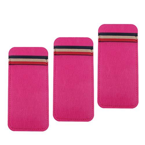 Milageto Paquete de 3 Gafas de Sol de Fieltro Contenedor de Almacenamiento Estuche Estuche para Maquillaje - Rosa roja