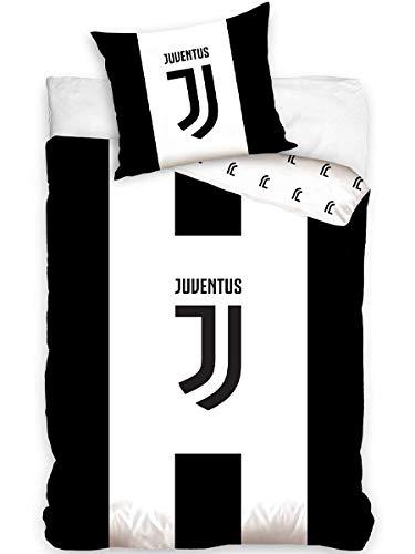 Carbotex Bettwäsche Bettgarnitur 2 TLG. Set Juventus Turin 160x200 +Kissenbezug Schwarz Weiß JT172001 100% Baumwolle Öko-Tex