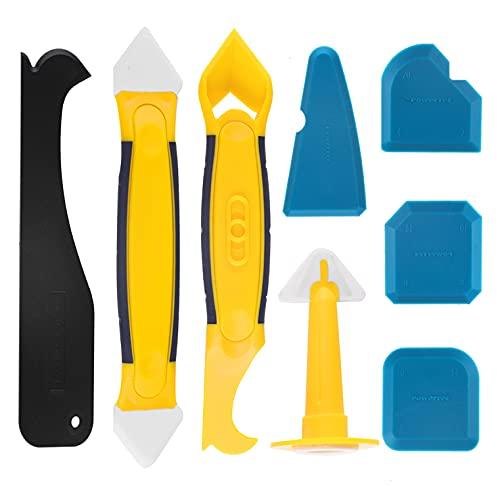 Silikonentferner, silikon fugenwerkzeug,Eokeey Multifunktionale 8 in 1 Profi Silikon Werkzeug Schaber Set mit Dichtung Werkzeug,Dichtmittelelentferner,Caulk Düse für Küche Badezimmer