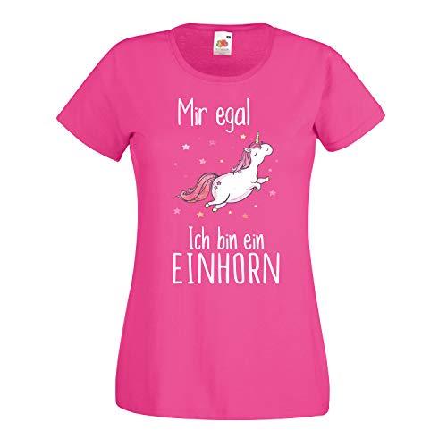 Shirt-Panda Damen Mädchen Einhorn T-Shirt · Mir egal ich Bin EIN Einhorn · Unicorn Shirt · Regenbogen Girl Spruch · Fun Ladyfit Tshirt · Rainbow Pony · Fuchsia M