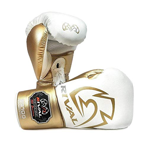 Rival Boxing Handschuhe RS100 Weiß Gold Training Sparring Professionell - Weiß, Gold, 16oz