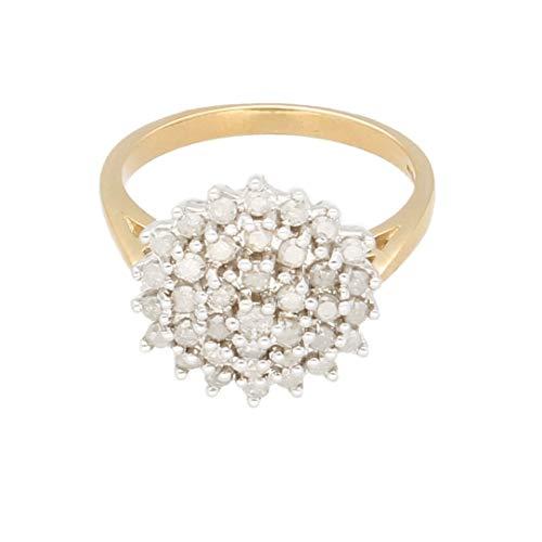 Anillo de oro amarillo de 9 quilates con diamante de 1,00 quilates (tamaño P) de 15 mm de diámetro | Anillo de lujo para mujer