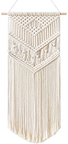 """Mkono Macrame Wall Hanging Handmade Bohemian Chic Woven Tapestry Home Art Decor for Apartment Dorm Room Bedroom Party Wedding Wall Decoration Ornament, 13"""" W x 28"""" L"""