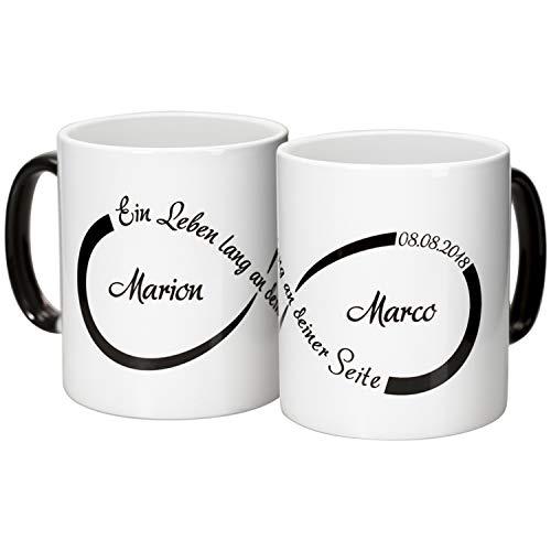 Geschenke 24 Tassen Set – Unendlichkeit mit Personalisierung und schwarzem Aufdruck: personalisierte Becher mit Namen und Datum Bedruckt – Kaffeebecher für Paare zum Hochzeitstag l Jahrestag