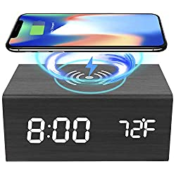 MOCRAFT Wooden Digital Alarm Clock with LED Display, Upgrade Bluetooth Speaker with Wireless Charging for Bedroom, Bedside, Office, Back to School Without Battery(Black)