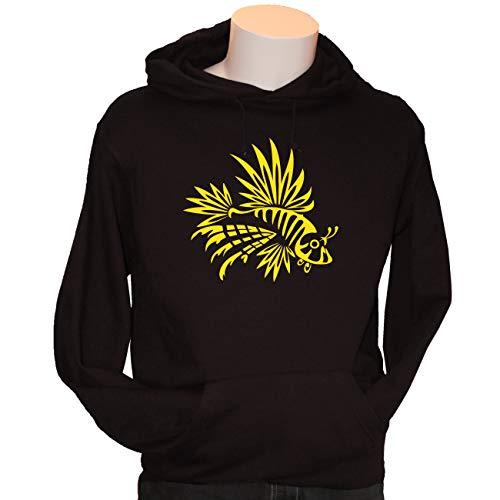 Kreativ-Shop! Taucher-Hoody TRIBAL - FEUERFISCH| Frontdruck | Größe: L | Folienfarbe: gelb