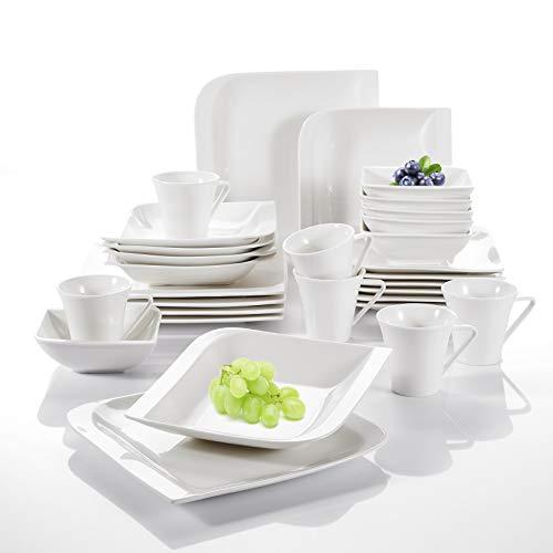 vancasso, série Gitana, Service de Table, 36 pièces, pour 6 Personnes, en Porcelaine, Couleur de Blanc,