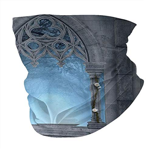 cap hat Outdoor Headband Head Scarf Scarf Neck Gaiter Face Bandana Scarf Fairytale Fantasy World Castle Architecture Details Terrace Gazebo Indoor Foggy Forest Grey Light Blue