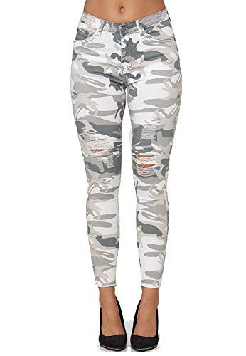 EGOMAXX Damen Skinny Stretch Jeans High Waist Destroyed Fransen Design Röhren Hose Camo Tarnmuster, Farben:Hellgrau, Größe:38