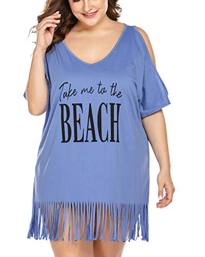 IN'VOLAND Women Plus Size Swimwear Cover Ups V-Neck Cover up most sensible Tassel Beach Dress Letters Print Beach Dress
