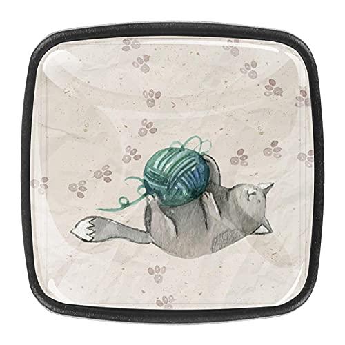 Tiradores de bolas de lana dibujados a mano para gabinetes de cocina de 1.18 pulgadas, tiradores de cajones, pomos de puerta, tiradores de cajón, pomos para cajón, juego de 4