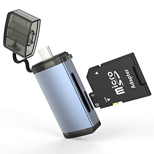 Lector de tarjetas USB 3.0 2 en 1 USB-C lector de tarjetas de memoria para SD/Micro SD/TF/SDXC/SDHC/MMC, compatible con portátiles, teléfonos y tabletas