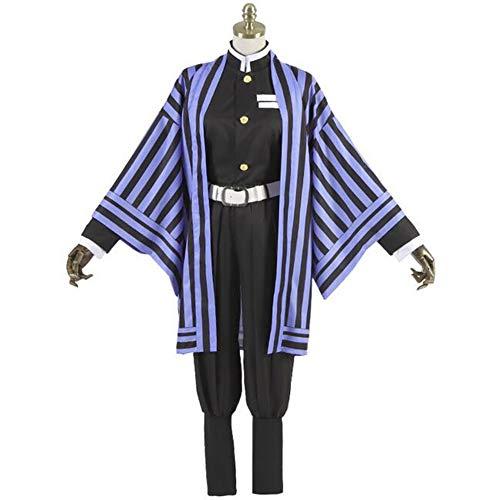 SHANGLY Halloween Iguro Obanai Cosplay Disfraz A Rayas Demon Slayer Kimetsu No Yaiba Traje de Kimono Traje de actuacin de Mascarada,Prpura,M