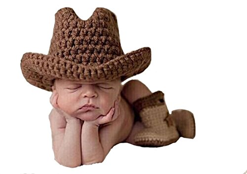 Memorz Newborn Infant Girl Boy Baby Handmade Crochet Knitted Costume Lovely Cowboy Clothes Photography Cap Hat Photo Prop (Coffee)