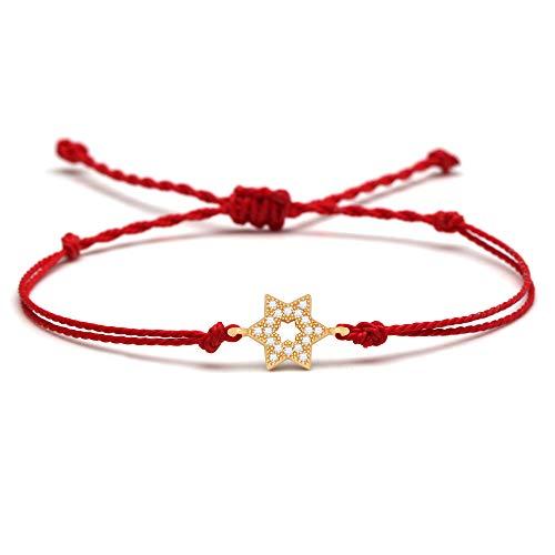 HMANE Pulsera con dijes de Estrellas judías de Cristal de circonio cúbico Blanco para Mujer y Hombre, Hilo Encerado Rojo Magen David, Regalo de joyería Trenzada