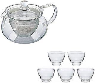 【セット買い】HARIO (ハリオ) 茶茶 急須 丸 450ml & 耐熱 湯呑み 5客セット