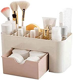 Plastic Cosmetic Storage Box Multi-function Desktop Storage Boxes Drawer Makeup Organizers Stationery Storage Organizer-Pink