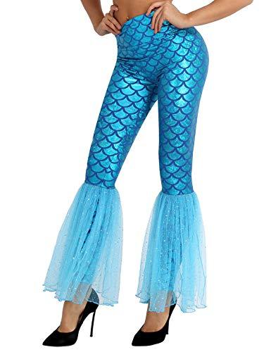 Agoky Damen Meerjungfrau Kostüm Hose Leggings mit Tüll Schlag Fischschuppen Print -Endlich bekommt die kleine Meerjungfrau Beine! Blau M(Taille 69cm)