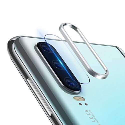 Preisvergleich Produktbild NOKOER Huawei P30 [2in1] Objektiv Schutzring Plus Objektiv schutzfilm, Schützen Sie die hintere Kamera für Huawei P30 - Silber
