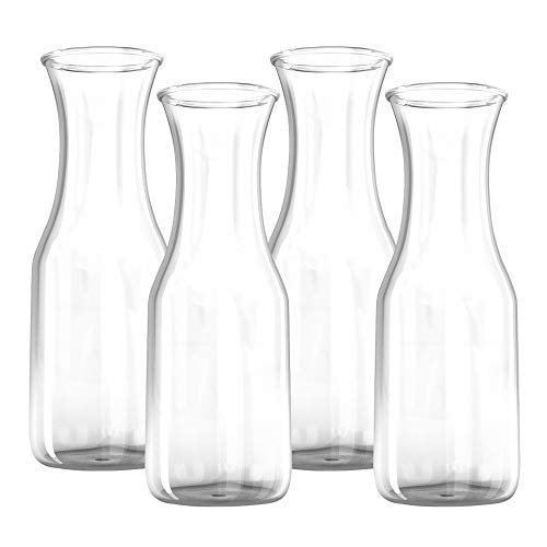 1 Liter Glass Carafe Drink Pitcher and Elegant Wine Decanter, Comfortable Grip with Narrow Neck Design, Wide Opening for Easy Pouring - Great for Parties and Events, 34 oz – Kitchen Lux (Pack of 4)