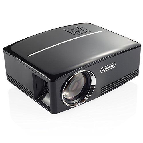 NEXGADGET Mini Video Projector, 1800 Lumens Film Projector, 1080P HD Portable LCD Video Projector, Multimedia Home Theater, Supporting HDMI/USB/VGA/AV for Home Use, Party, Game/Movie Watching
