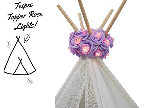 Dream Tada Girl Pet Teepee Tent Lights, Christmas Lights Battery Powered, Hanging Indoor Lights Boho Style Decoration, Fairy Strings for Birthday Parties Baby Showers (Lavender)