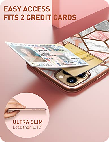 i-Blason Cosmo Wallet Case for iPhone 13 Pro 6.1 inch (2021 Release), Slim Designer Wallet Protective Case with Card Holder (Marble)